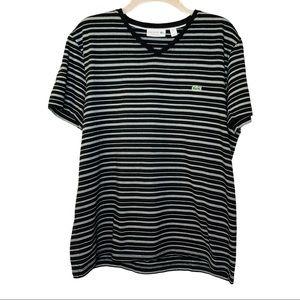 Lacoste Black & White Stripe V-Neck T-Shirt Large